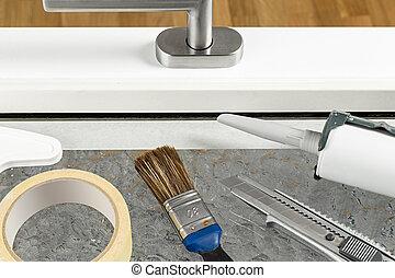 tools on windowe frame