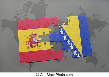 puzzle with the national flag of spain and bosnia and...