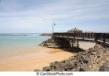 Beach in Caleta de Fuste. Canary Island Fuerteventura, Spain