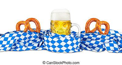 bavarian flag pretzel and  beer