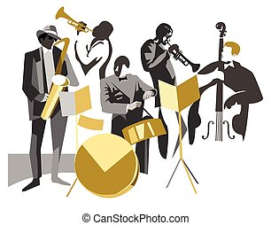Jazz band - Jazz musicians on isolated background