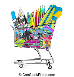 school / office supplies in shopping cart isolated on white...