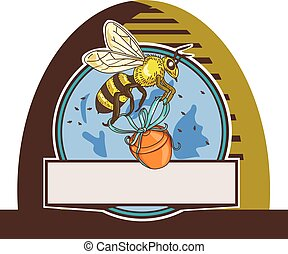 Bee Carrying Honey Pot Skep Circle Drawing - Drawing sketch...