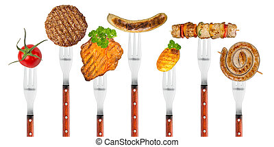 grilled food on forks - row of forks with grilled food
