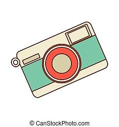 Retro photographic camera, vector illustration.
