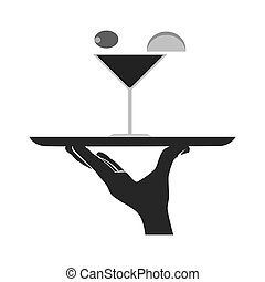 Waiter serving a dish, vector illustration.