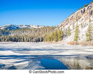 invierno, en, Mamut, lagos