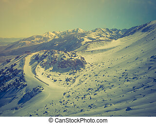 Snow landscape on Mammoth Mountain in California, US...
