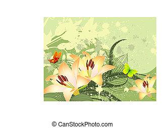 pattern golden lilies