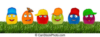 funny easter egg row - row of funny easter eggs on white...