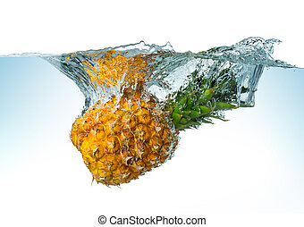 pineapple spash - pineapple splashes into the water