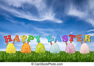happy easter lettering with easter eggs