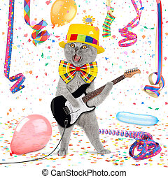 funny guitar cat - Cat with guitar in middle of confetti and...