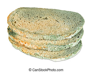 moldy bread slices on white background