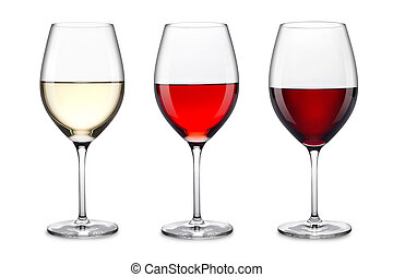 wine glass set - row of three wine glasses