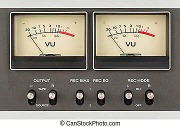 retro audio displays - close up of two retro vu meter and...