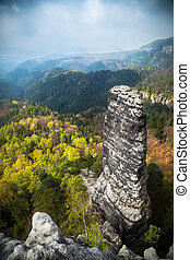 saxon switzerland - panorama view on the saxon switzerland...