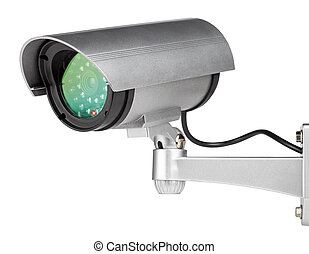 security camera wall mounted on white background