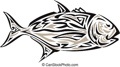 Giant Trevally Side IsolatedTribal Art - Tribal art style...
