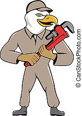 Bald Eagle Plumber Monkey Wrench Cartoon - Illustration of...