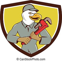 Bald Eagle Plumber Monkey Wrench Crest Cartoon -...