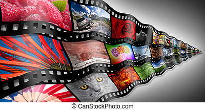 photo filmstrip concept - photo filmstrips in front of grey...