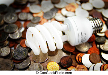 compact fluorescent light bulb on U.S. coins