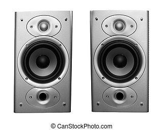 pair of stereo speakers isolated on white background