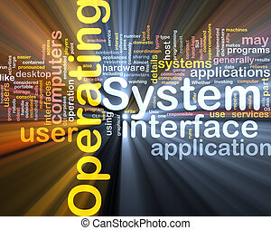 Operating system word cloud glowing - Word cloud concept...
