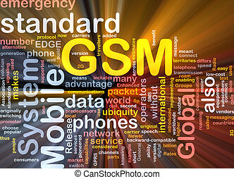GSM word cloud glowing - Word cloud concept illustration of...