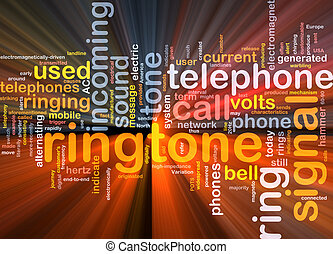 Ringtone word cloud glowing - Word cloud concept...