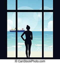 silhouette of woman standing looking to sea view with boat from her apartment big window