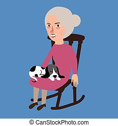 old lady woman senior with cat sleeping in her lap sitting in chair
