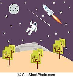 outer space illustration kids style with spaceman rocket -ship