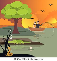 couple in lake fishing. crocodile and snake around vector