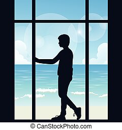 man boys silhouette alone looking to the sea open area from big window in the dark thinking