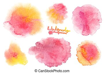 Pink and yellow watercolor splashes vector backgrounds set...