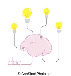 idea light bulb energy from brain illustration