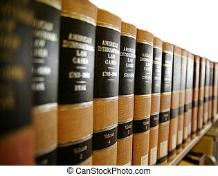 Law legal books on a book shelf
