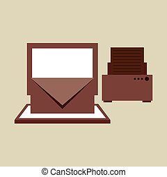 technology office information computer printer isolated,...
