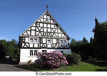 tradycyjny, Ryglowy, dom, Północ, Rhine, Westphalia, Niemcy