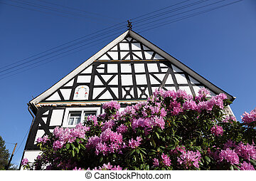 Traditional half-timbered house in North Rhine Westphalia,...