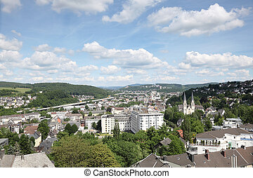View over the city of Siegen, North Rhine Westphalia,...