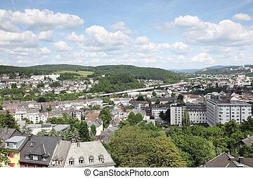 Prospekt, na, Miasto, Siegen, Północ, Rhine, Westphalia,...