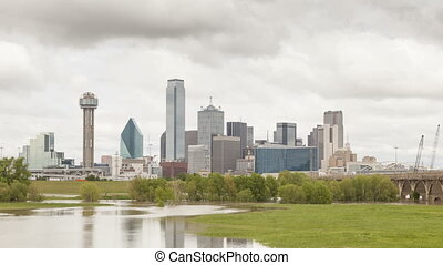 Dallas downtown skyline on an overcast day Time lapse video...