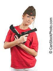 The girl with a pistols and garrison cap