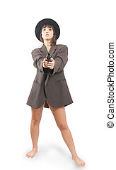 Sexy  woman in black hat with gun