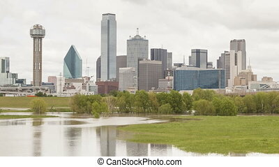 Dallas downtown skyline on an overcast day. Time lapse video...