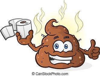 Poop Toilet Paper Cartoon Character