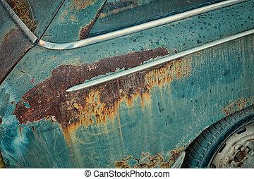 Rusty bodywork on an abandoned car